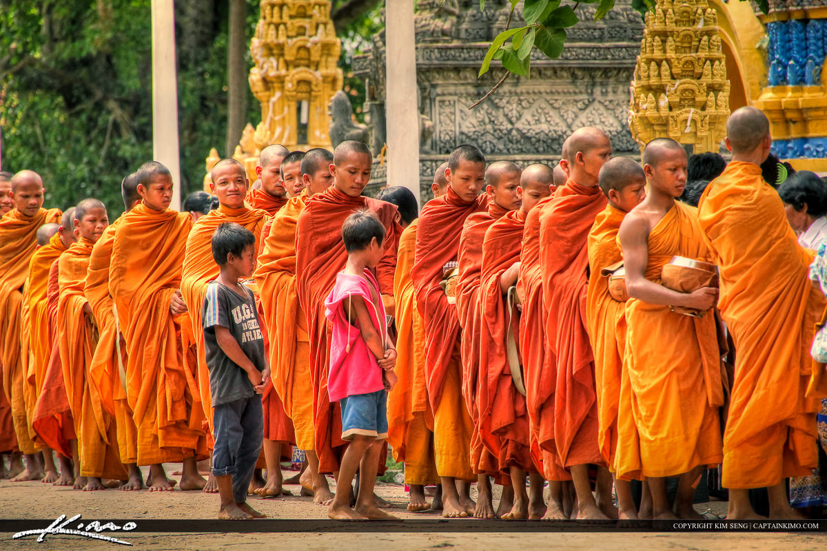 Monks During a Buddhist Ceremony in Cambodia