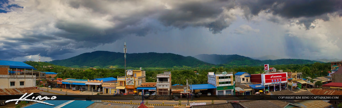 Panorama View from Hotel of Mountains in Pailin Cambodia