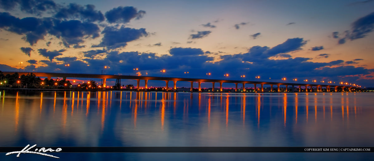 Roosevelt Bridge Stuart Florida After Sunset from Dock