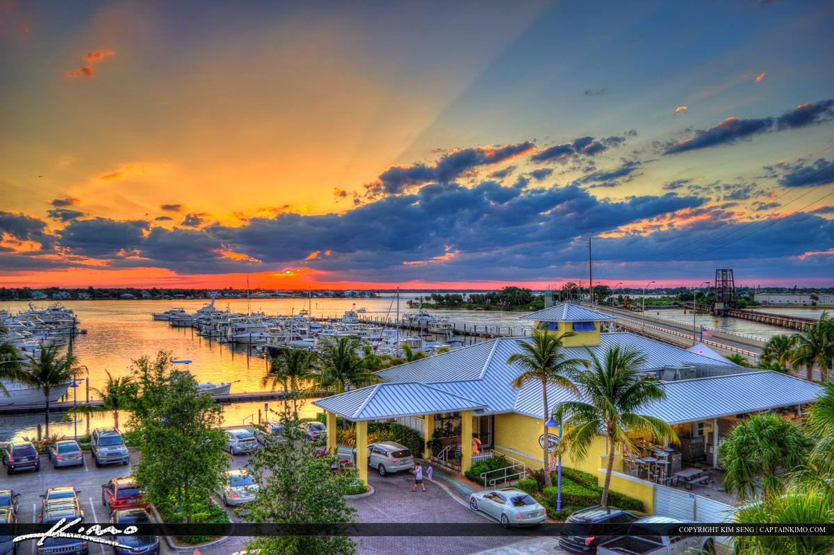 Stuart City Florida Sunset Over Marina