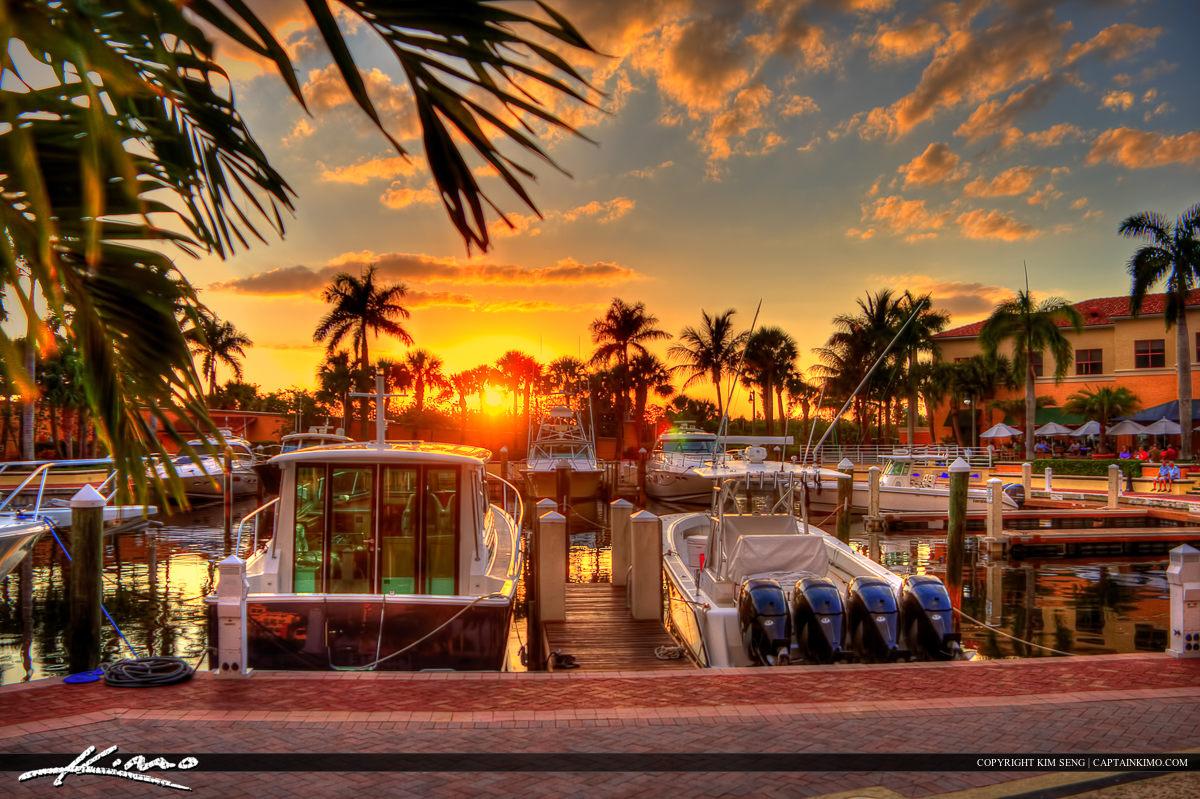 Sunset at the Riverwalk Marina Boat Dock Jupiter Florida