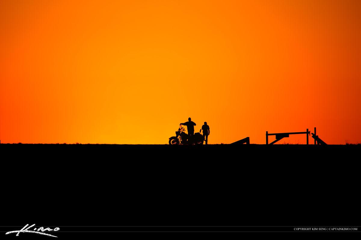 Motorcycle Sunset at Lake Okeechobee