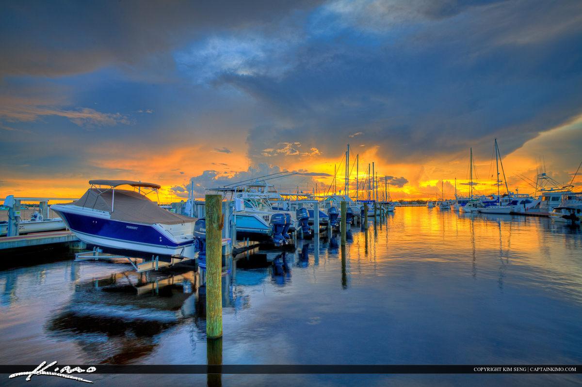 Sunset Over the Marina at Stuart Florida