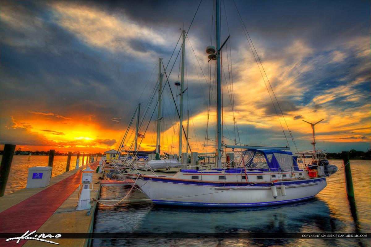 Sailboats During Sunset at the Marina in Stuart Florida