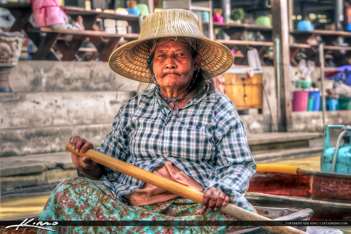 Paddle Boat Lady from the Floating Market Thailand