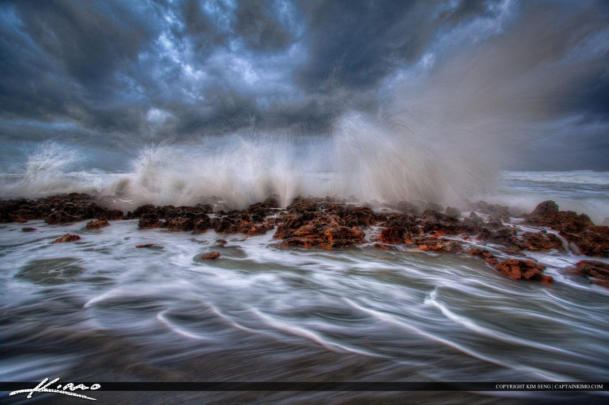 Stormy Sea at Florida Beach During Hurricane