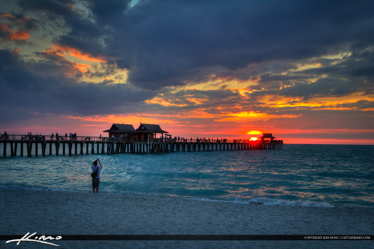 Naples Pier Sunset at the Gulf Coast of Florida