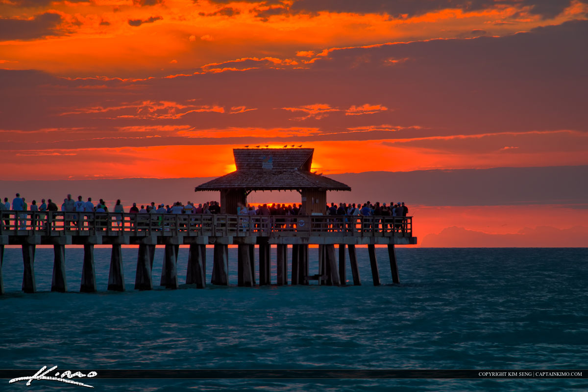 Sunset Naples Fishing Pier in Naples Florida