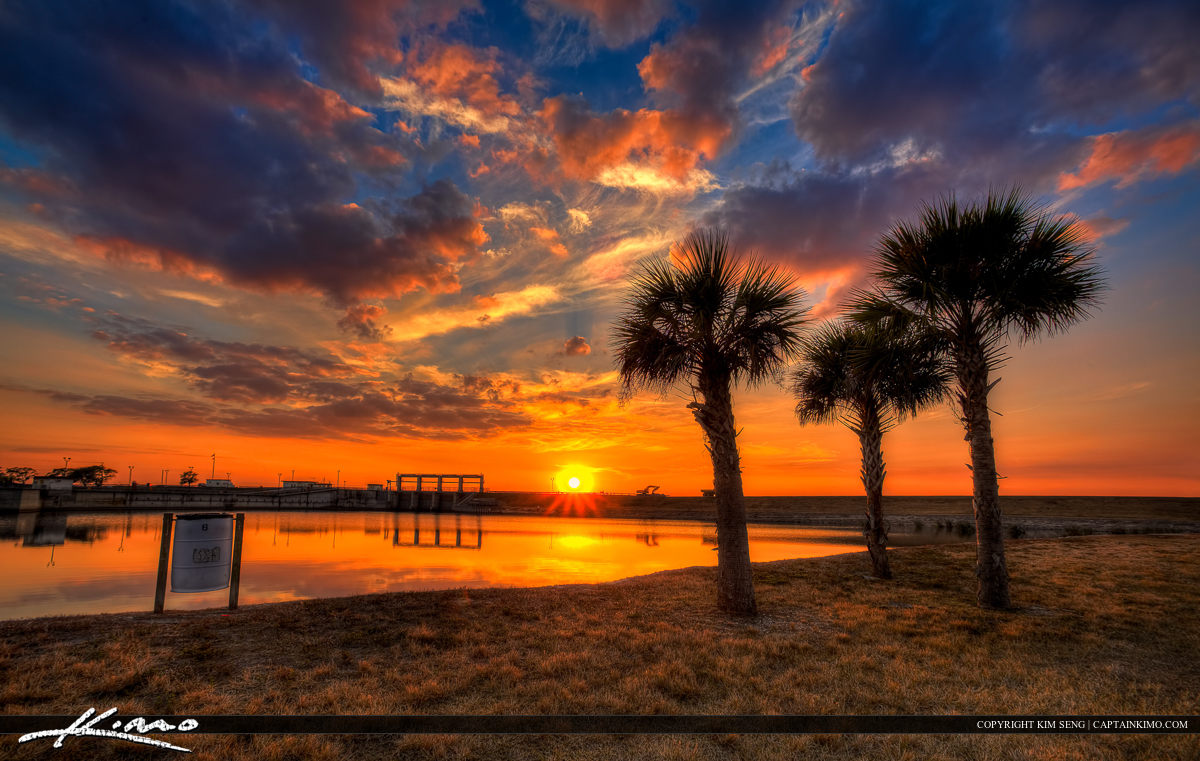 Okeechobee Lake Sunset at Port Mayaca Florida