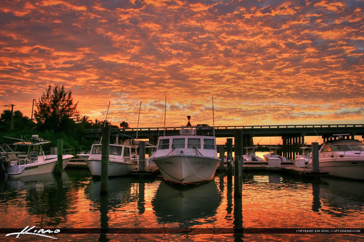 Sunset at Sportsman Marina in Jupiter Florida