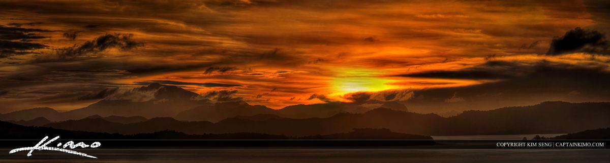HDR Mountain Panorama Sunrise Over Mountain
