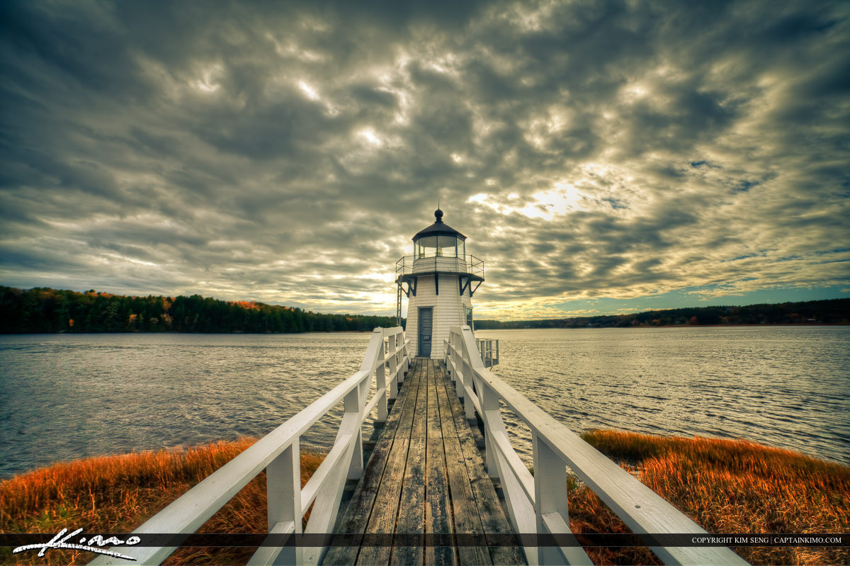 Doubling Lighthouse During a Gloomy Day in Arrowsic Maine