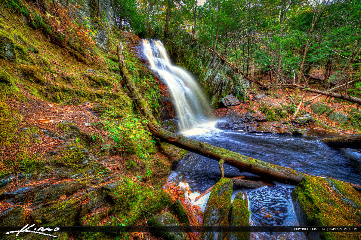 Beautiful Cascade Waterfall in Saco Bay Trails Maine
