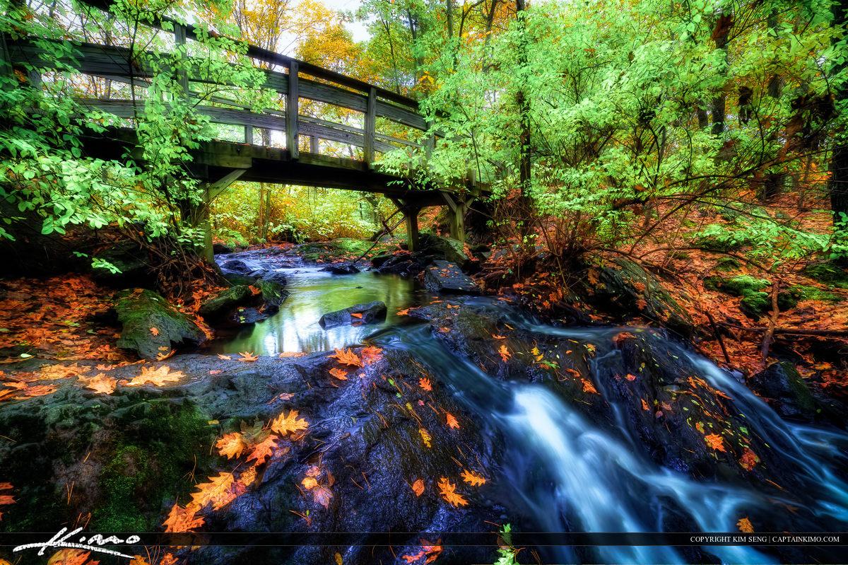Jewell Fall Trail Bridge at Portland Maine in Autumn