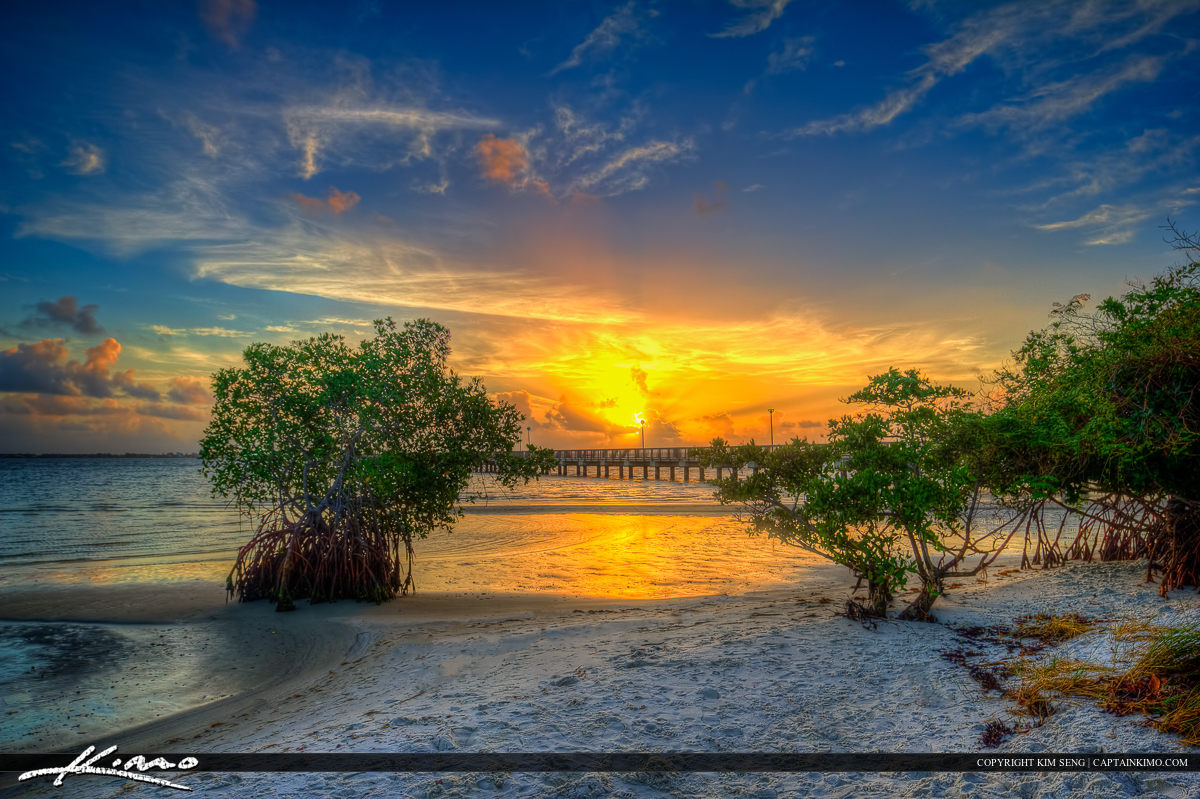 Indian Riverside Park during sunrise over Indian River Lagoon