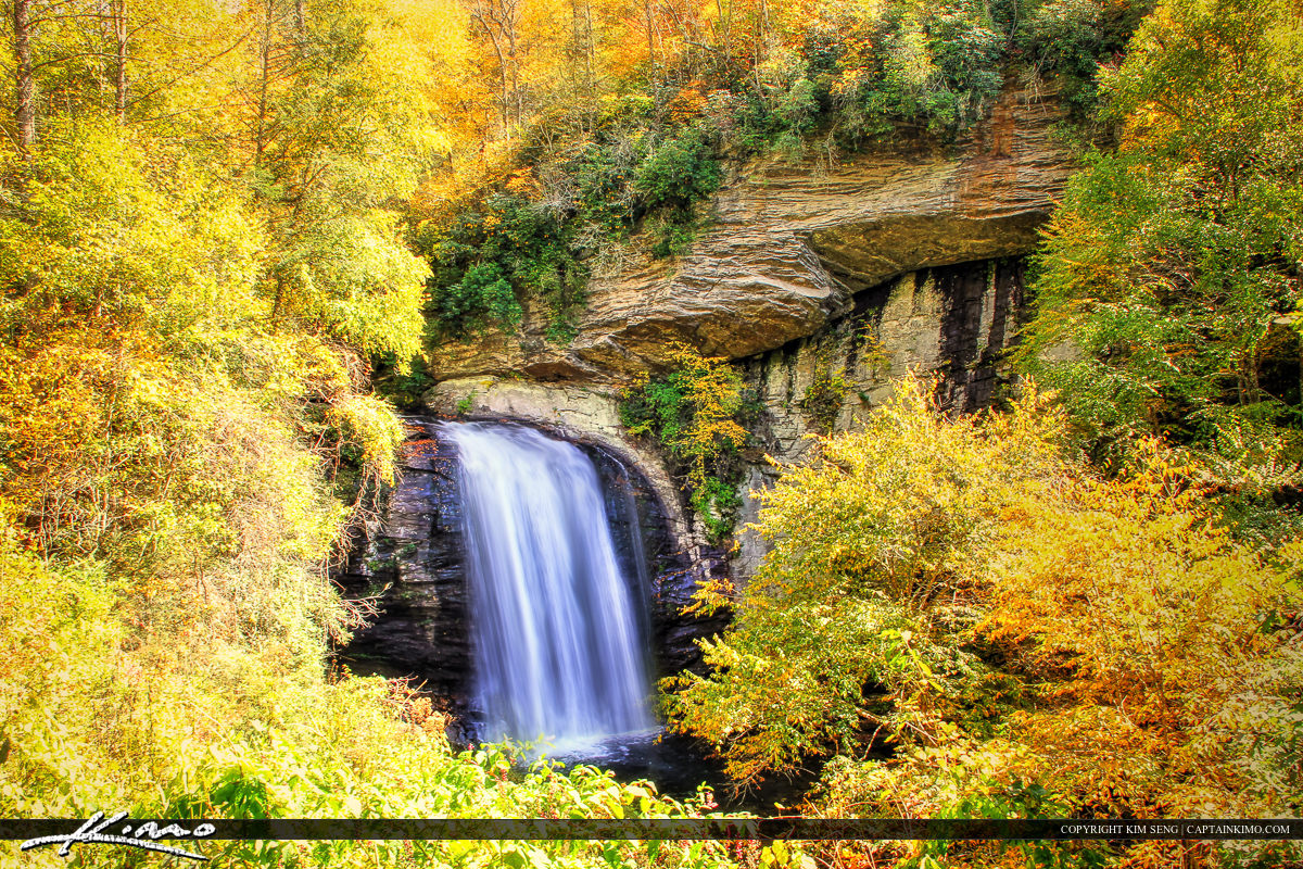 Looking Glass Falls North Carolina with Autumn Colors