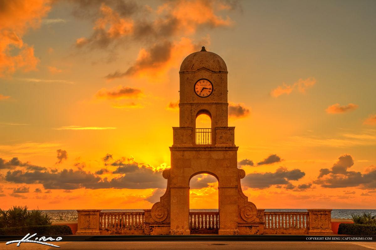 Golden Sunrise at Clock Tower Worth Avenue Palm Beach