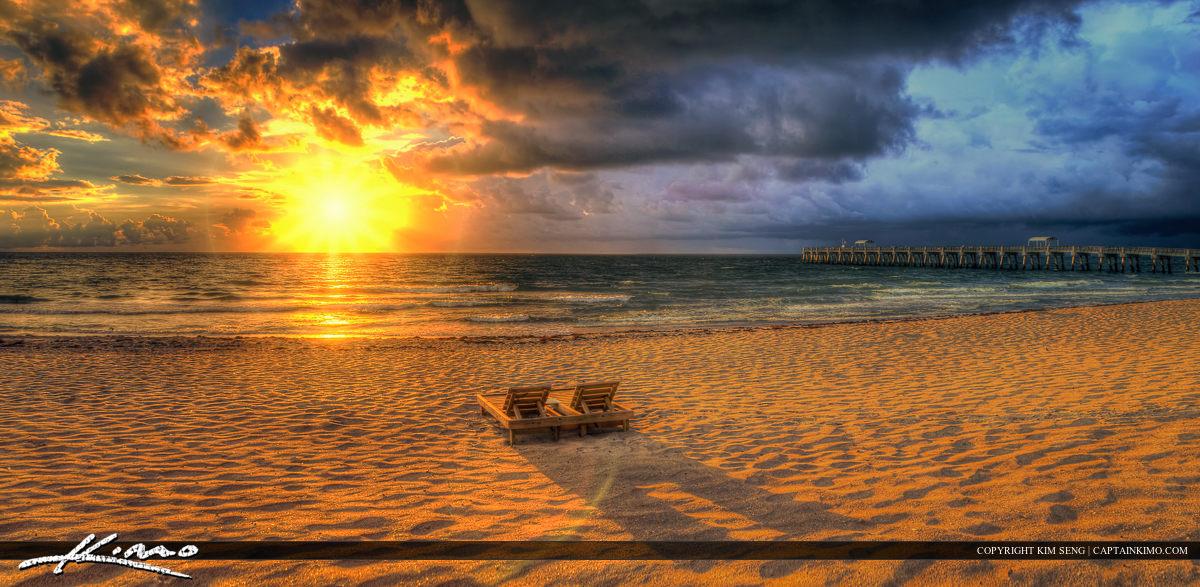 Lake Worth Pier Sunrise Panorama Storm Break