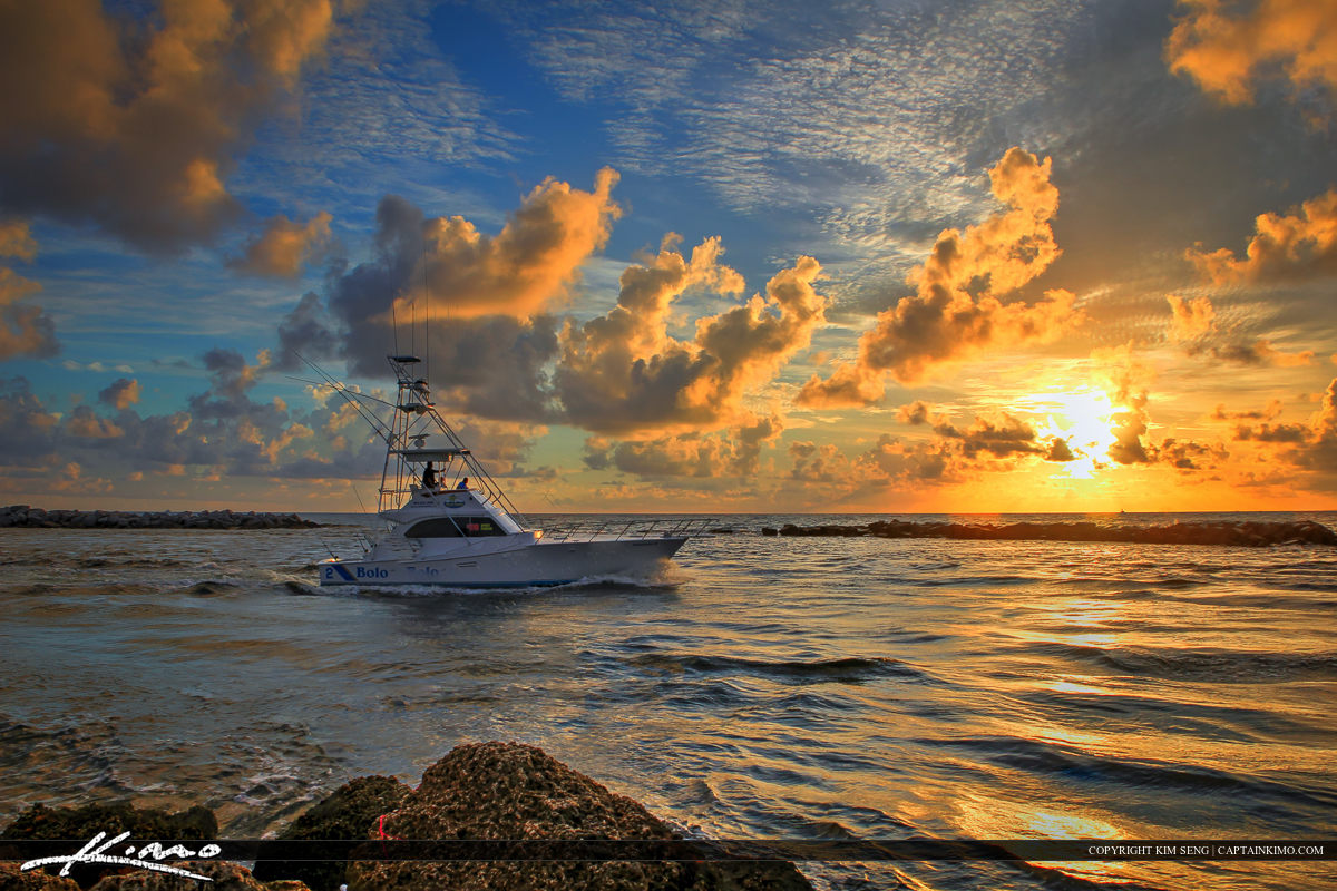 Boat Going Fishing During Sunrise at the Pompano Inlet Florida