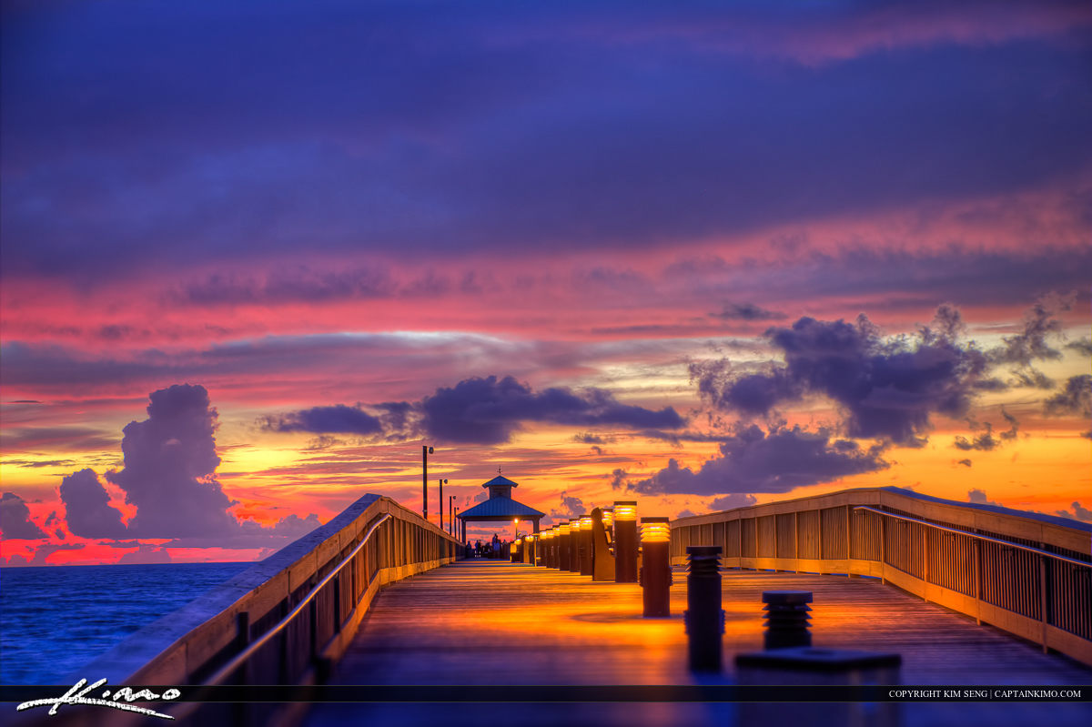Deerfield Beach Fishing Pier Durign Pink Sunrise