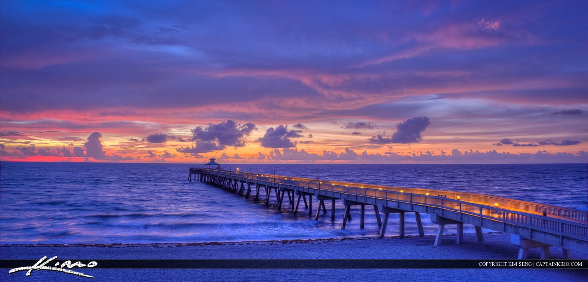 Deerfield Beach Fishing Pier Pink Sky Before Sunrise