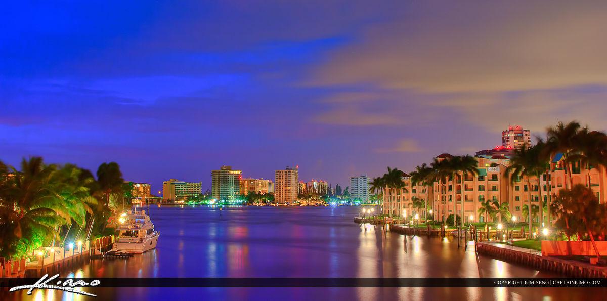 Lake Boca Raton City Skyline Before Sunrise