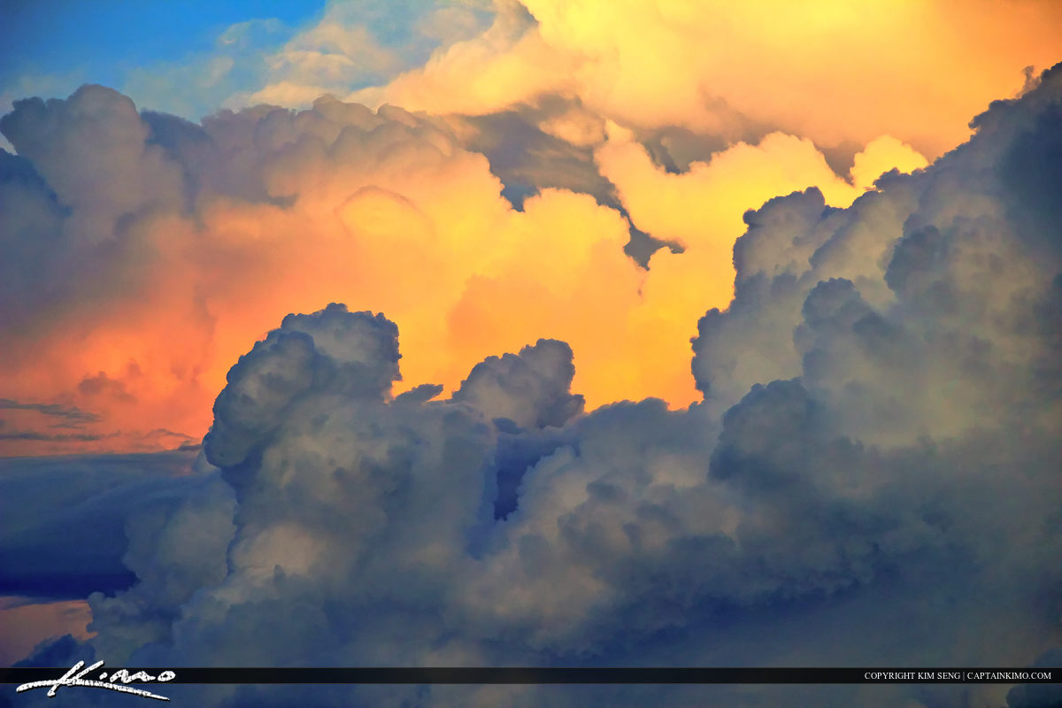 Dramatic Clouds with Colorful Background Cloudscape