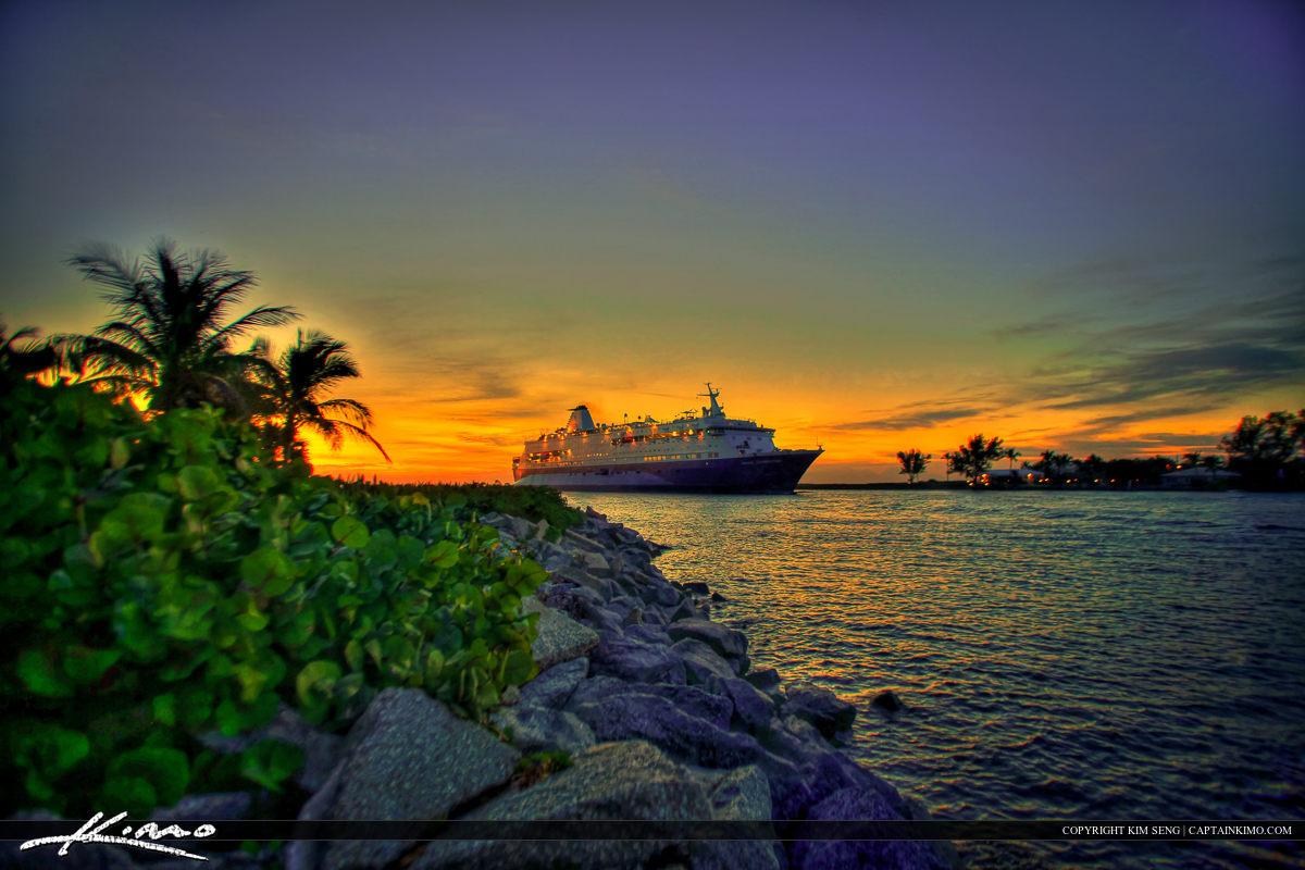 Cruise Ship Entering Palm Beach Inlet at Singer Island
