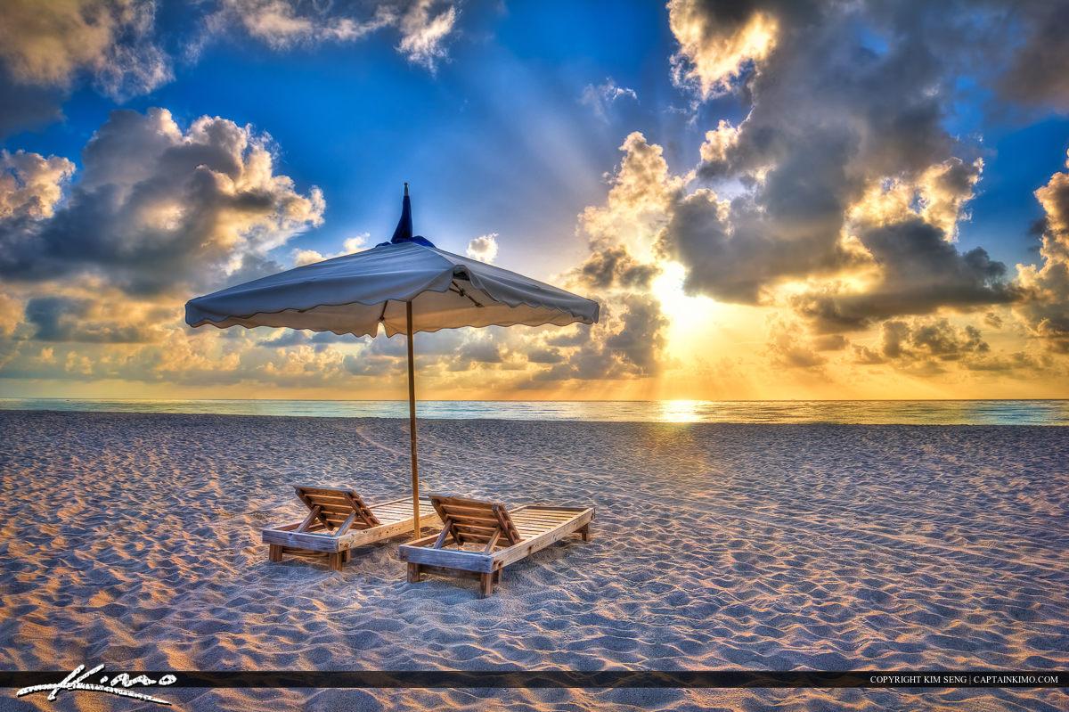 Beach Chair and Umbrella Sunrise Singer Island Florida