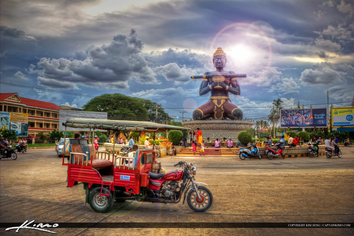 King Kron Nhong Black Statue with Staff Battambang Cambodia