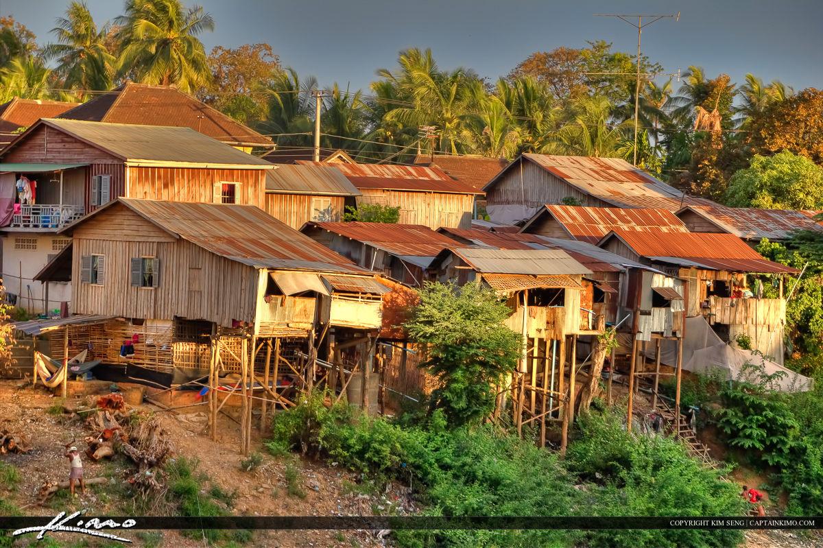 Houses at the River in Battambang Cambodia