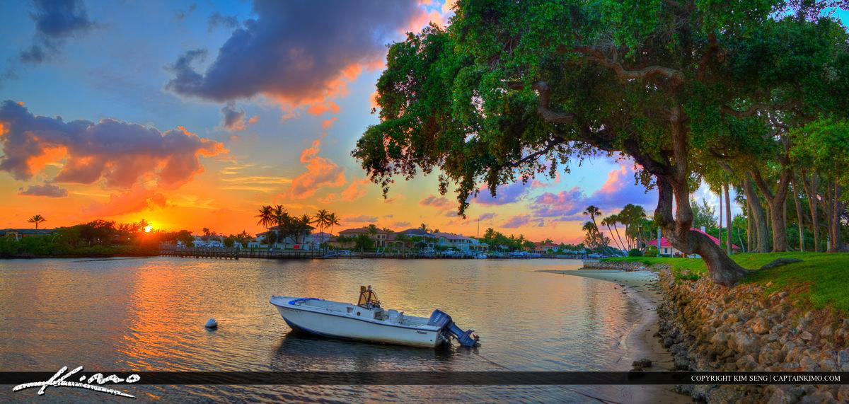 Boat Docked at Intracoastal Under Tree During Sunset Florida