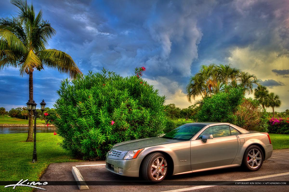 Cadillac XLR Sportscar with Incoming Storm