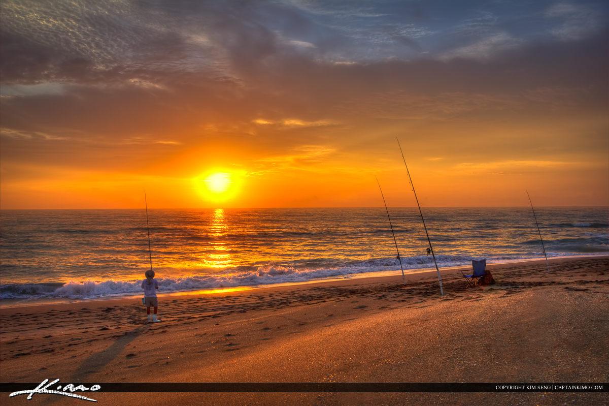 Beach Fishing at Hobe Sound Florida During Sunrise