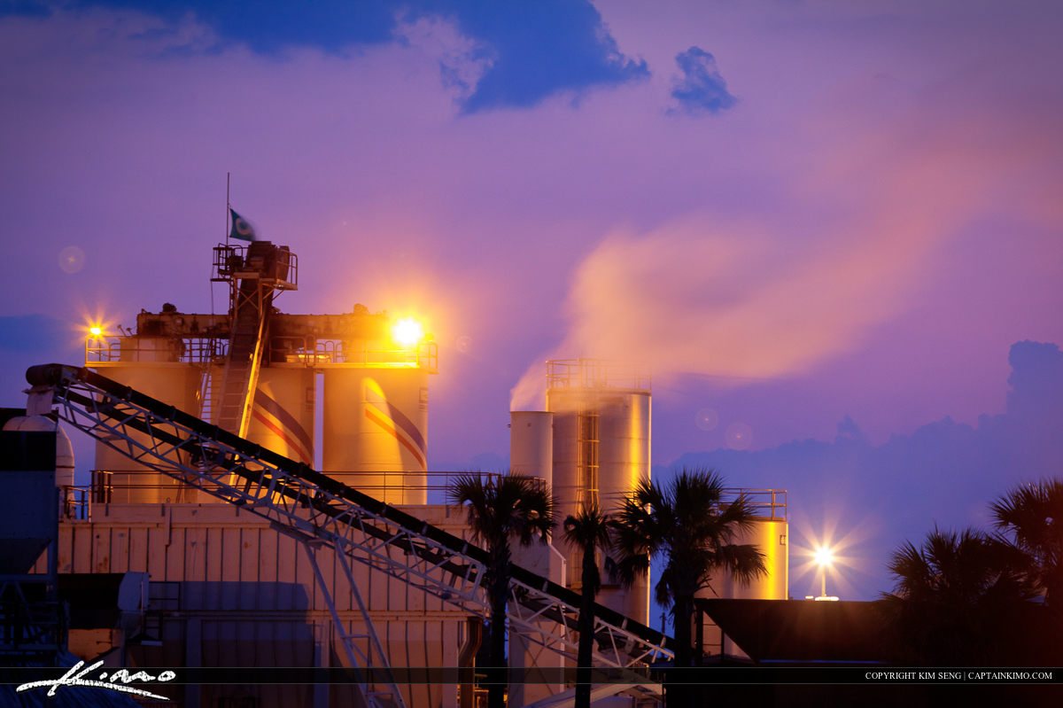 Florida Concrete Factory at Night with Smoke