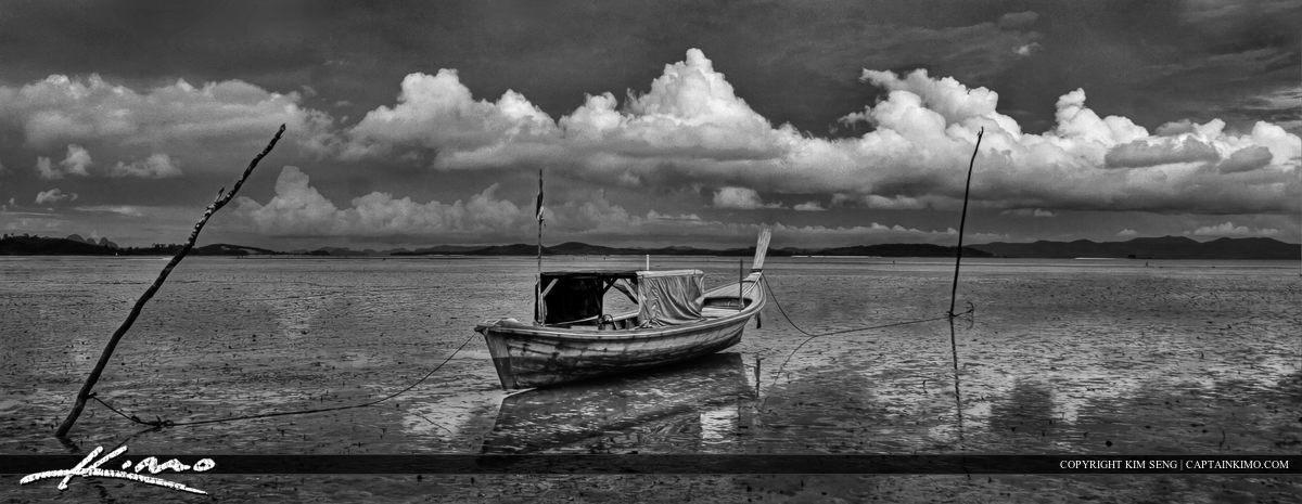 black white hdr long boat from phuket thailand