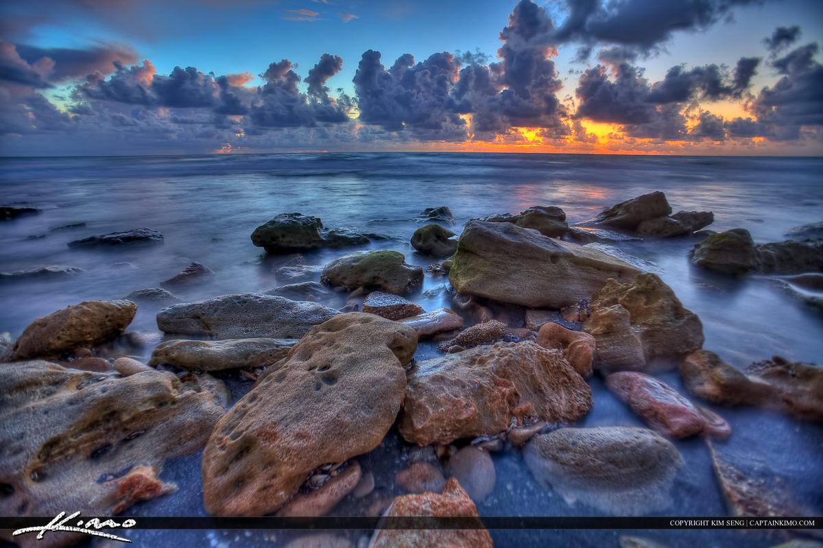 Blowing Rocks Ocean Sunrise at Jupiter Florida