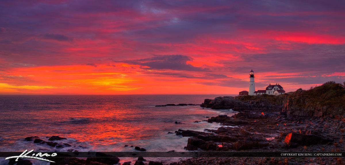 Cape Elizabeth Maine at Fort Williams Park Sunrise at Lighthouse