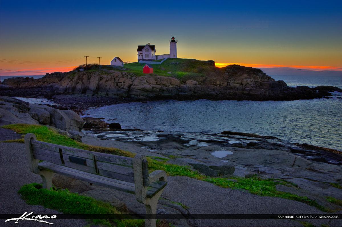 Nubble Lighthouse Park During Sunrise Cape Neddick Maine