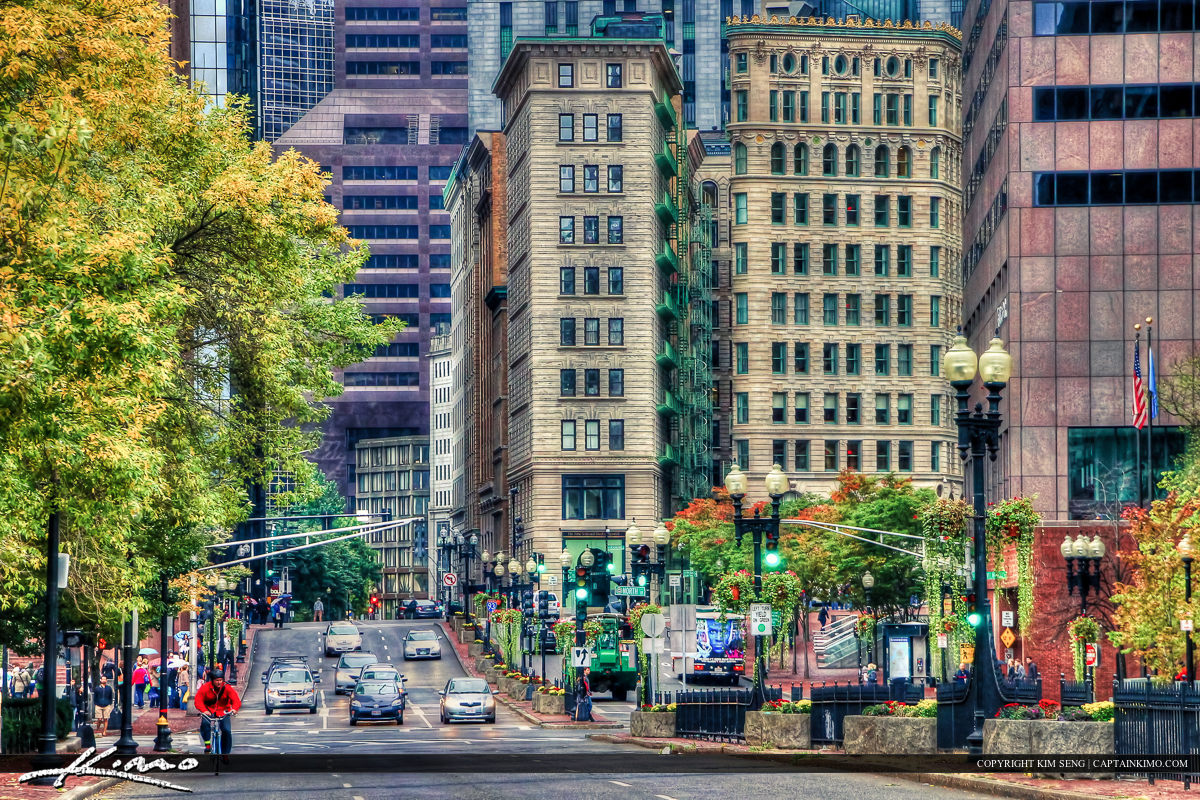 Downtown Boston Massachusettes at Street with Old Buildings