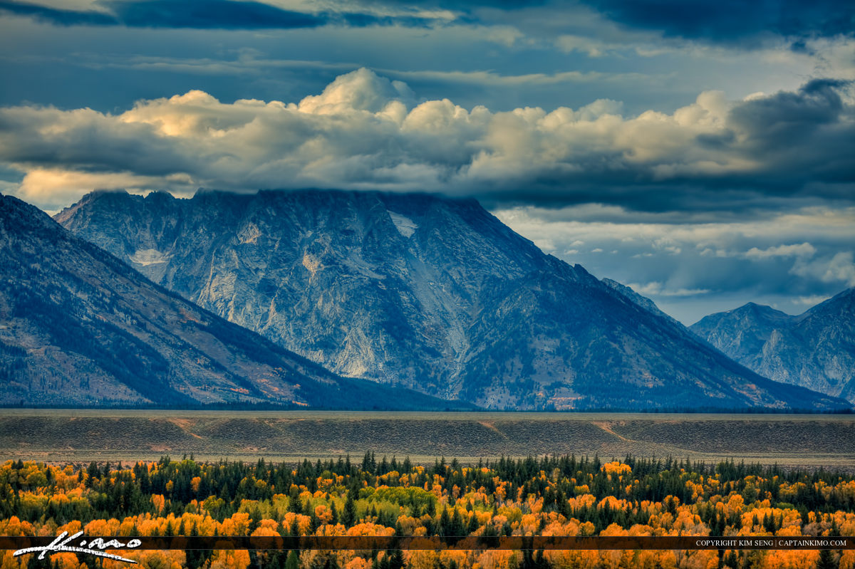 Clouds Over Grand Teton Mountains in Wyoming