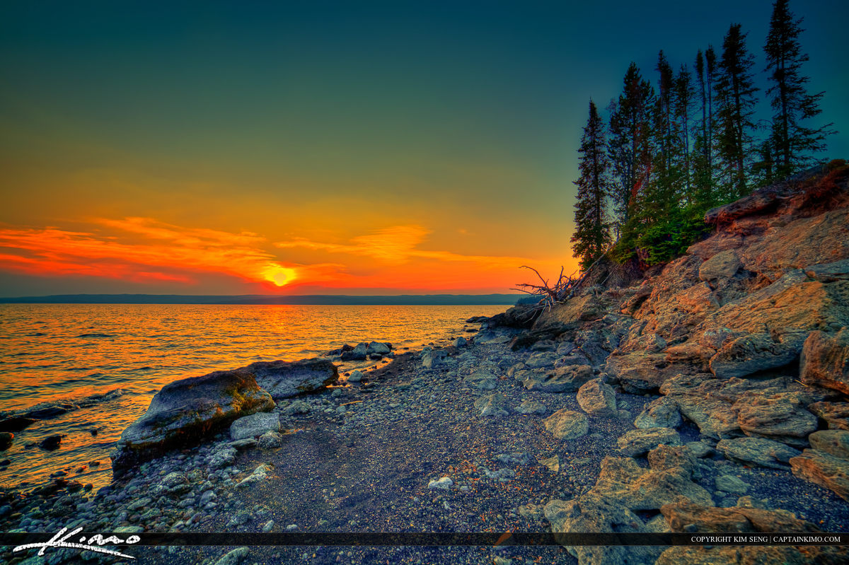 Yellowstone Lake During Sunset at Yellowstone National Park