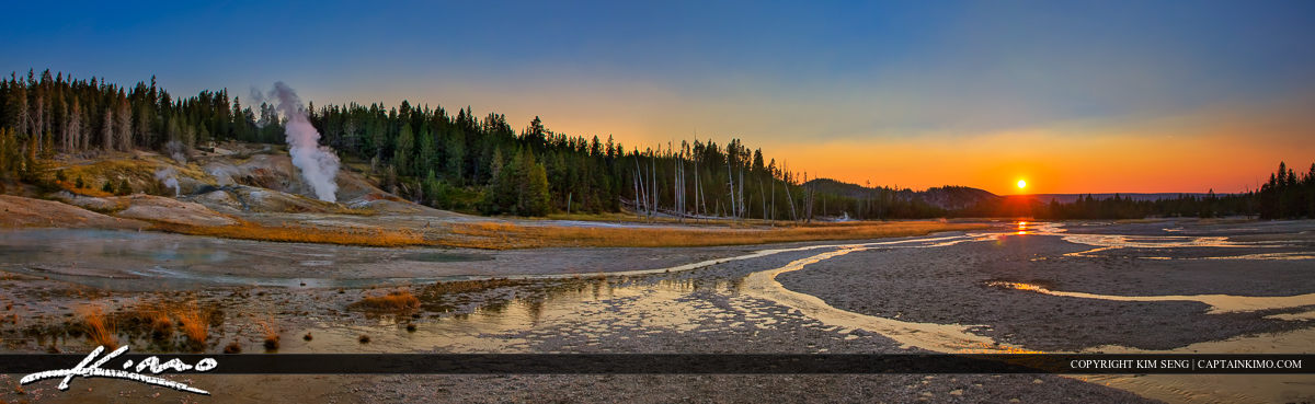 Norris Geyser Basin Panorama at Sunset Yellowstone Park