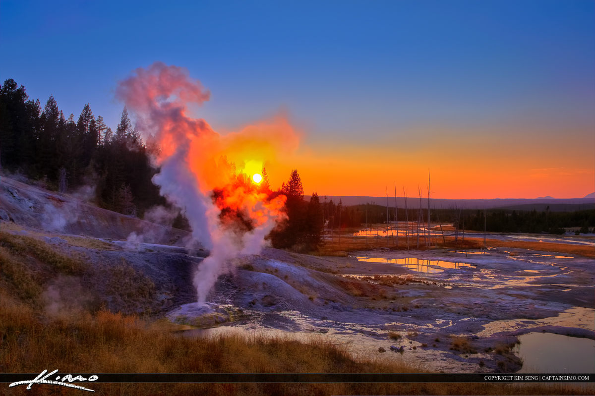 Norris Geyser Basin at Sunset Yellowstone National Park