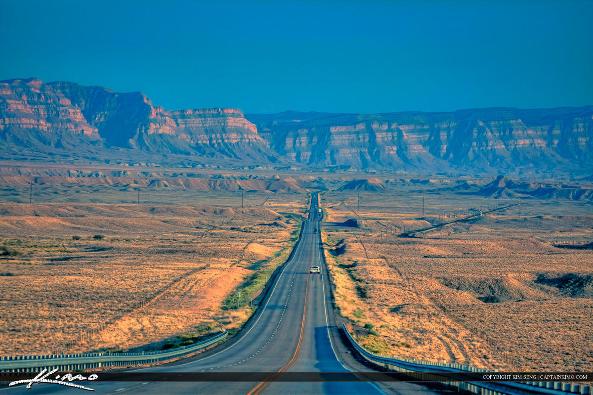 Long Stretch of Road in Utah Heading for Moab