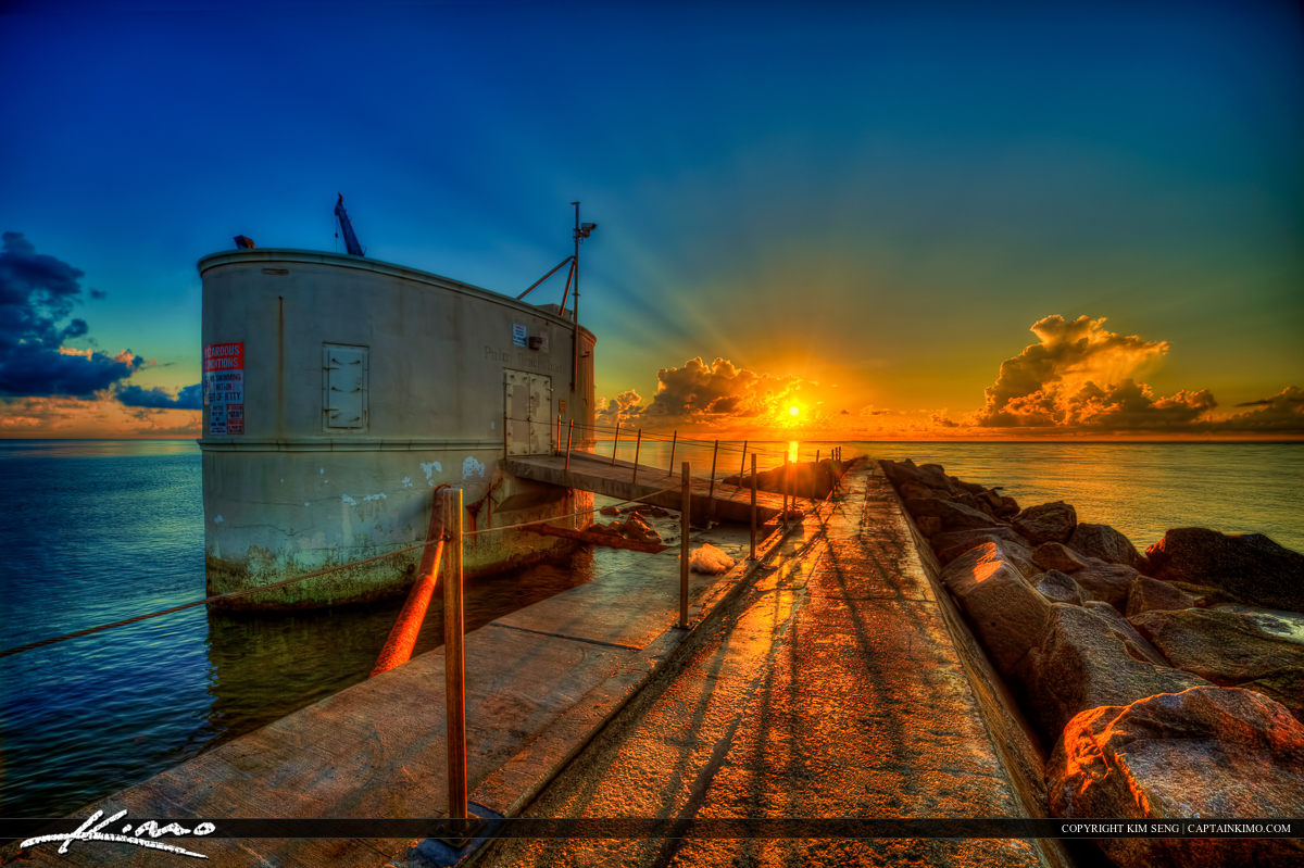 Palm Beach Inlet at Singer Island Pump House During Sunrise