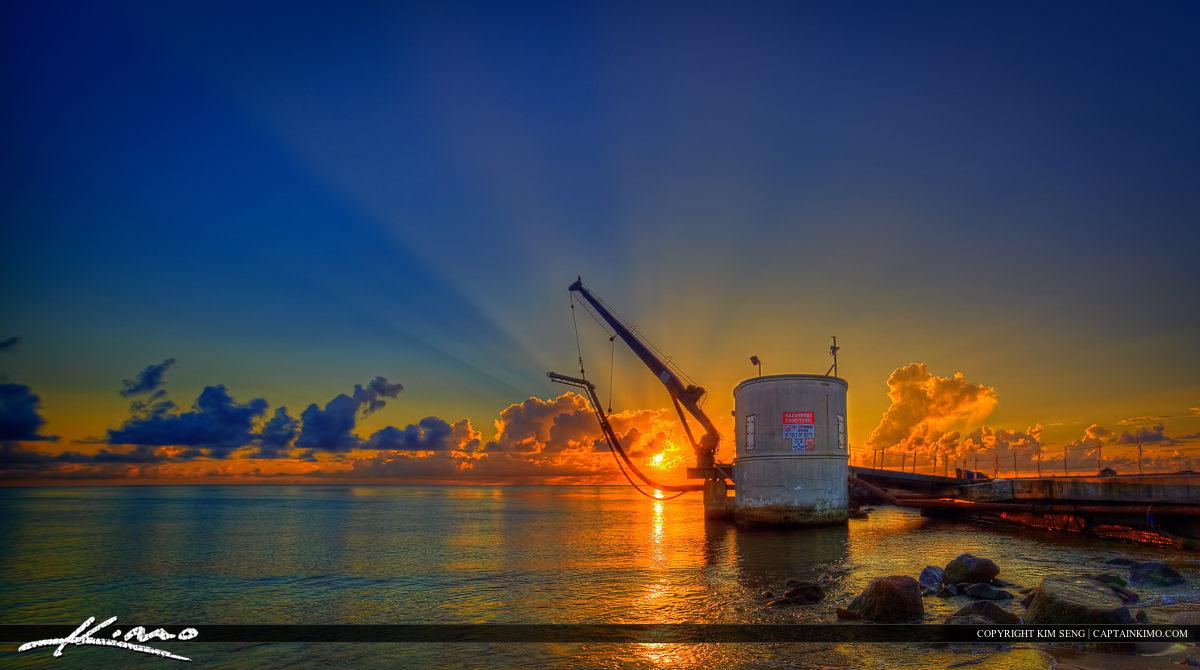 Pump House in Palm Beach Inlet During Sunrise at Beach