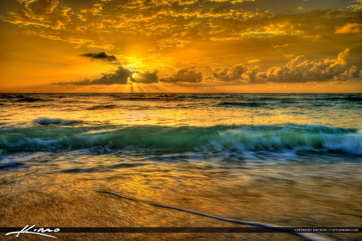 Breaking Wave During Sunrise at Loggerhead Park in Juno Beach Florida