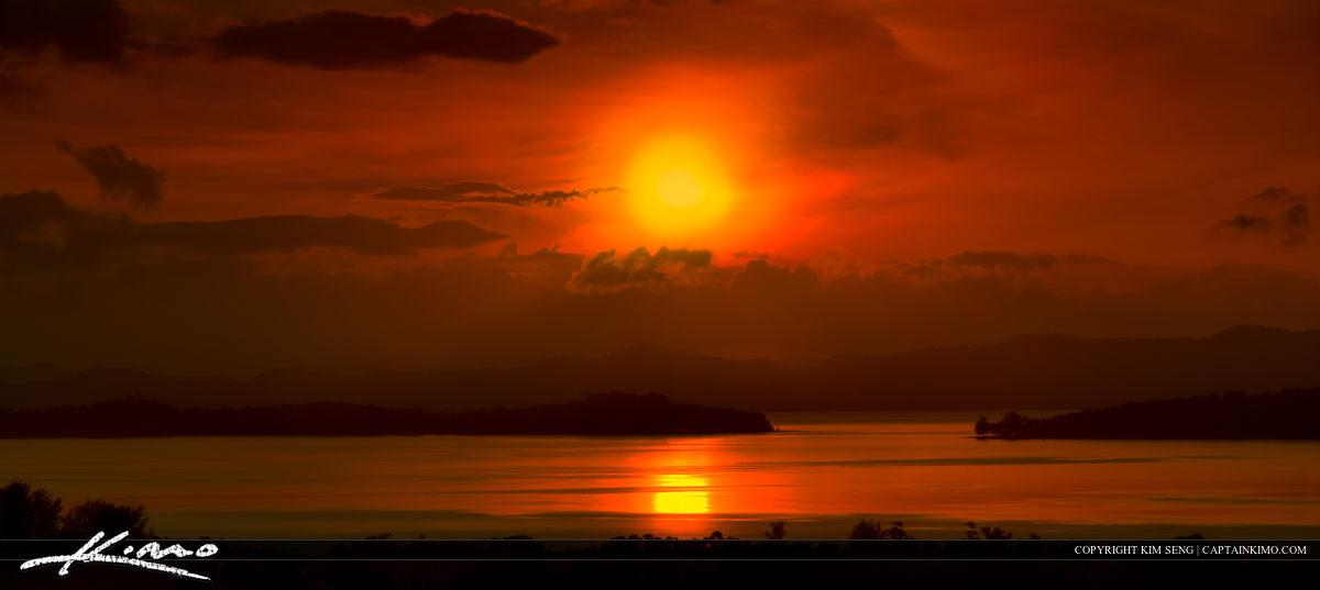 Sunrise Over Cape Yamu Phuket Thailand Panorama