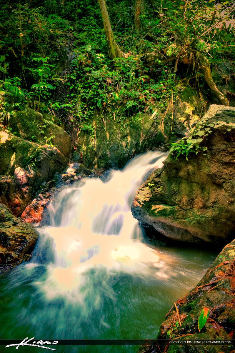 Bang Pae Waterfall Small Drop at Foot Phuket Thailand